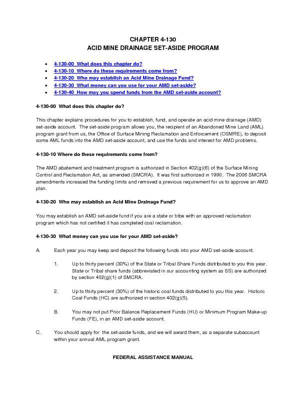 FEDERALASSISTANCE MANUAL CHAPTER 4ACID MINE DRAINAGE SETASIDE PROGRAM0