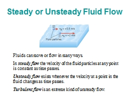 Steady or Unsteady Fluid Flow PowerPoint PPT Presentation
