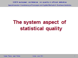 1 The system aspect of statistical quality