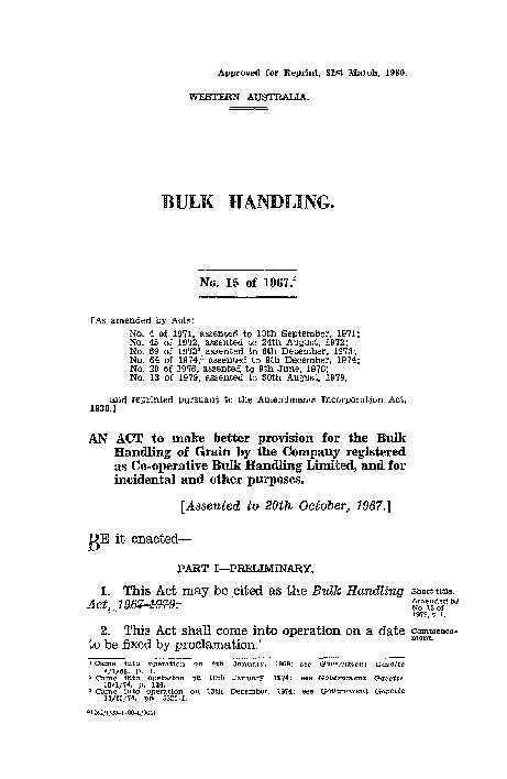 2Bulk Handling.[1967.Arrangement.3. This Act is divided into Parts as