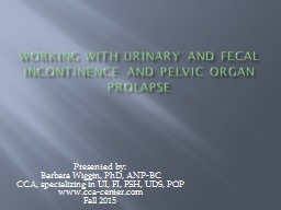 Working with Urinary