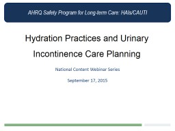 Hydration Practices and Urinary Incontinence Care Planning