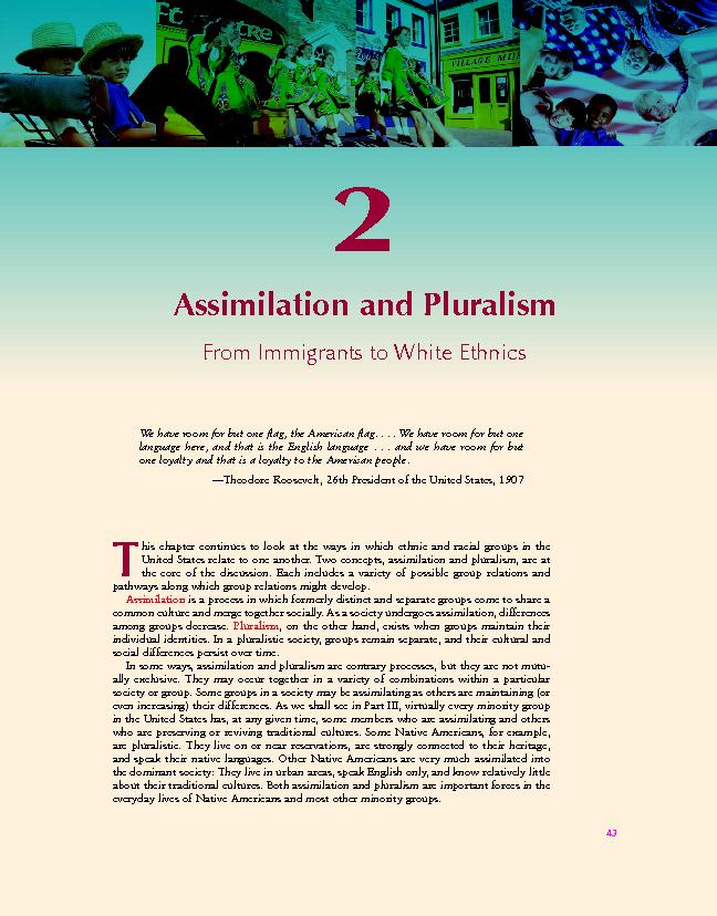 Assimilation and PluralismFrom Immigrants to White EthnicsWe have room