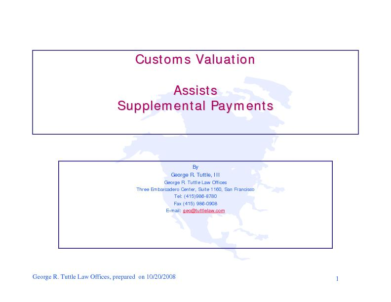 Customs ValuationCustoms Valuation AssistsAssists Supplemental Payment