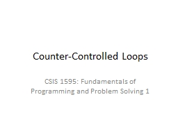 Counter-Controlled Loops PowerPoint PPT Presentation