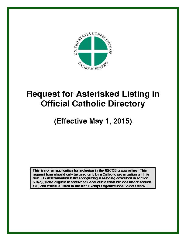 Request for Asterisked Listing in Official Catholic DirectoryEffective