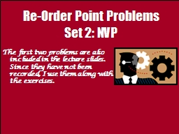 Re-Order Point Problems