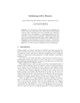 Validating LR  Parsers JacquesHenri Jourdan  Francois Pottier  and Xavier Leroy Ecole Normale Superieure INRIA ParisRocquencourt Abstract