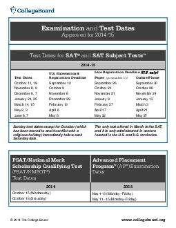 Examination and Test Dates Approved for  Test Dates for SAT and SAT Subject Test PDF document - DocSlides