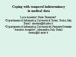Coping with temporal indeterminacy PowerPoint PPT Presentation