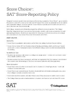Score Choice New SAT ScoreReporting Policy Designed to reduce student stress and PDF document - DocSlides