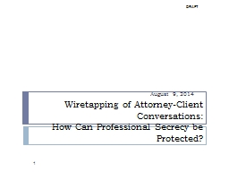 1 Wiretapping of Attorney-Client Conversations: