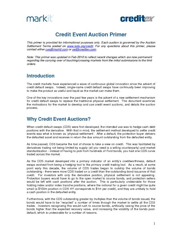 Credit Event Auction Primer This primer is provided for informational