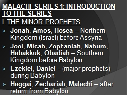 MALACHI SERIES 1: INTRODUCTION TO THE SERIES