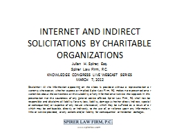 INTERNET AND INDIRECT SOLICITATIONS BY CHARITABLE ORGANIZAT