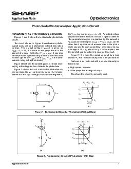 Application Note  Application Note Optoelectronics FUNDAMENTAL PHOTODIODE CIRCUITS Figures  and  show the fundamental photodiode circuits