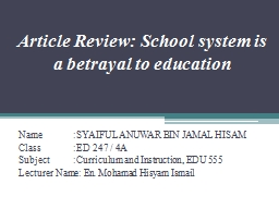 Article Review: School system is a betrayal to education