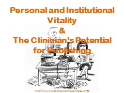 Personal and Institutional Vitality