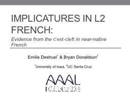 Implicatures in L2 French: