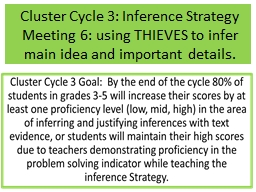 Cluster Cycle 3: Inference Strategy