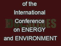 Proceedings of the International Conference on ENERGY and ENVIRONMENT