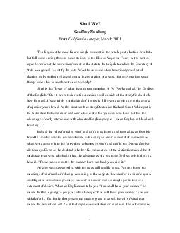 Shall We Geoffrey Nunberg From California Lawyer  March  To a linguist the most  PDF document - DocSlides
