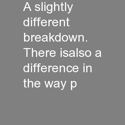 a slightly different breakdown. There isalso a difference in the way p