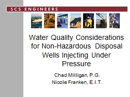 Water Quality Considerations for Non-Hazardous Disposal Wel