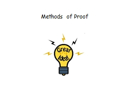 Methods of Proof PowerPoint PPT Presentation