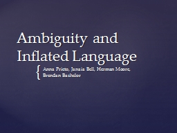 Ambiguity and Inflated Language