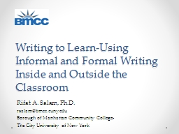 Writing to Learn-Using Informal and Formal Writing Inside a