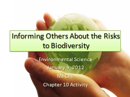 Informing Others About the Risks to Biodiversity
