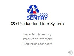 S9k Production Floor System PowerPoint PPT Presentation