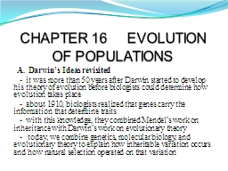 CHAPTER 16     EVOLUTION OF POPULATIONS