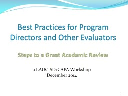 Best Practices for Program Directors and Other Evaluator