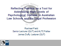 Reflective Practice as a Tool for Addressing High Levels of PowerPoint PPT Presentation