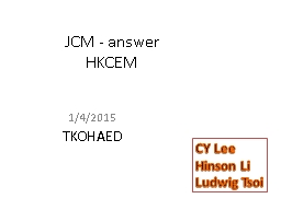 JCM - answer PowerPoint PPT Presentation