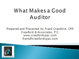 What Makes a Good Auditor PowerPoint PPT Presentation