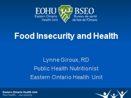 Food Insecurity and Health PowerPoint PPT Presentation
