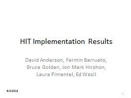 HIT Implementation Results