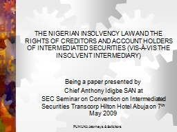 THE NIGERIAN INSOLVENCY LAW AND THE RIGHTS OF CREDITORS AND