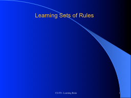CS 478 - Learning Rules