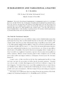 SUBGRADIENTS AND VARIATIONAL ANALYSIS R