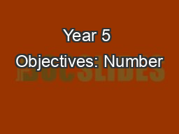 Year 5 Objectives: Number