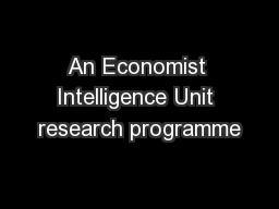 An Economist Intelligence Unit research programme