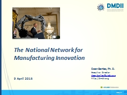 The National Network for Manufacturing Innovation PowerPoint PPT Presentation