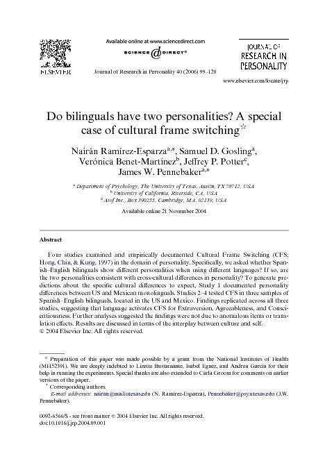 Journal of Research in Personality 40 (2006) 99