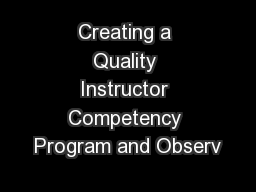 Creating a Quality Instructor Competency Program and Observ