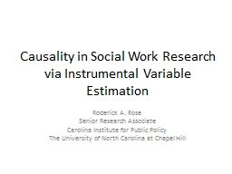 Causality in Social Work Research via Instrumental Variable