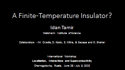 A Finite-Temperature Insulator?